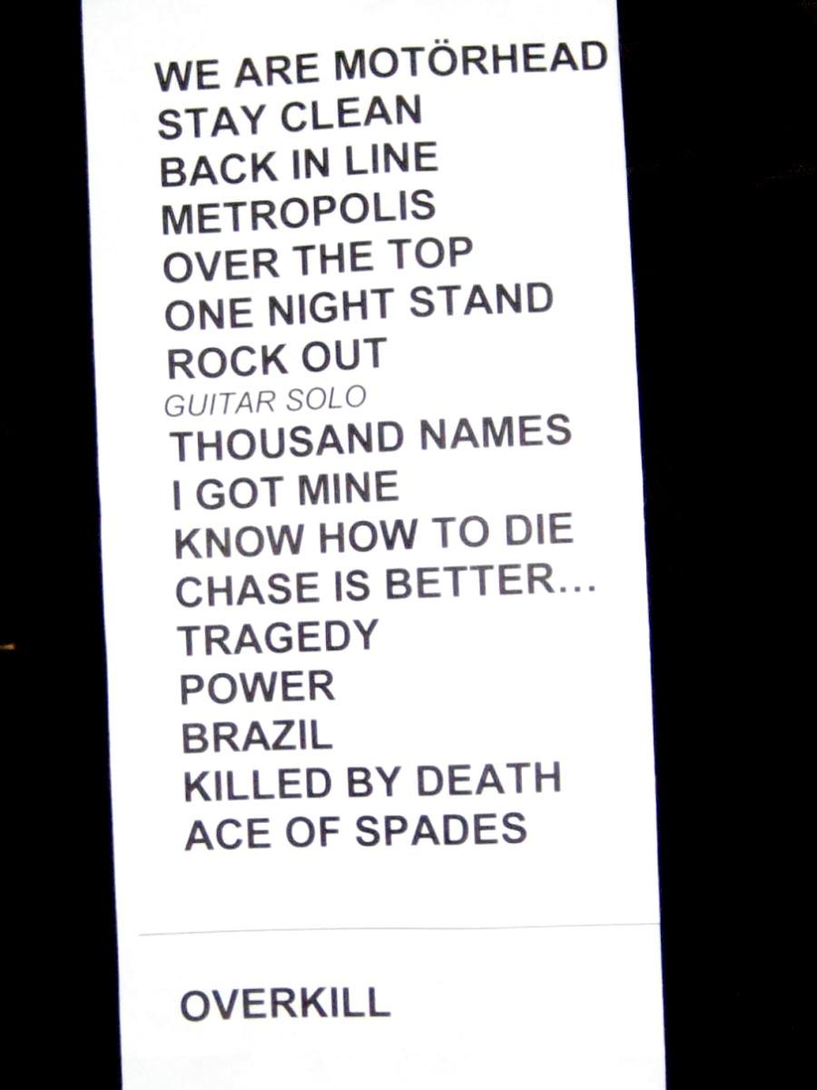 Motörhead set list