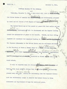 Draft of the Day of Infamy Speech | U.S. National Archives
