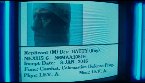 Rutgers Hauer as Roy Batty in Blade Runner